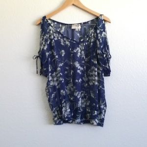 Sheer Blue and Gray Floral Blouse